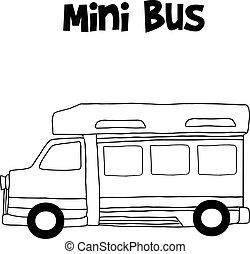 Mini bus hand draw vector