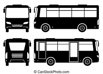 Mini bus silhouette vector illustration with side, front, back, view