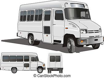 mini-bus, urbano, passeggero