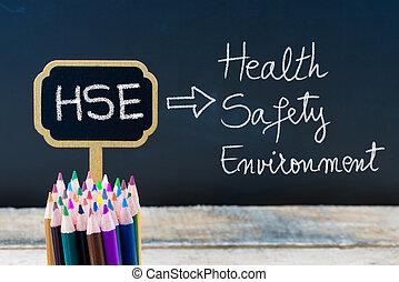 mini, business, hse, acronyme, tableau noir, étiquettes, craie, bois, écrit, sécurité, santé, environnement