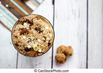 mini, café, helado, de madera, Galletas, tabla