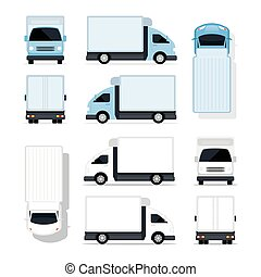 mini, caminhão, azul branco