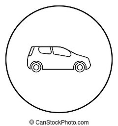 Mini car Compact shape for travel racing icon black color illustration in circle round
