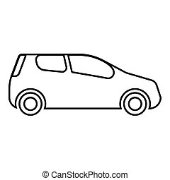 Mini car Compact shape for travel racing icon black color illustration outline