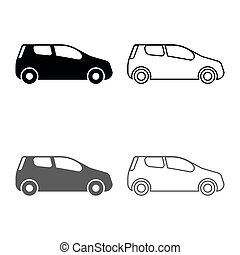 Mini car Compact shape for travel racing icon set grey black color illustration outline flat style simple image