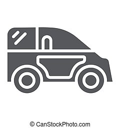 Mini car glyph icon, transport and automobile, auto sign, vector graphics, a solid pattern on a white background.