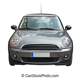 Mini Car - Small stylish car front view isolated on white...