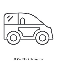 Mini car thin line icon, transport and automobile, auto sign, vector graphics, a linear pattern on a white background.