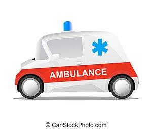 mini, caricatura,  car, ambulância