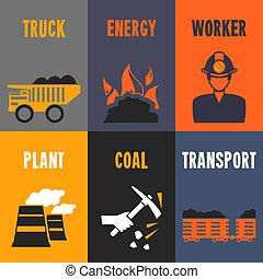 mini, cartazes, indústria, carvão