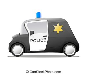 mini cartoon sheriff police car, vector illustration