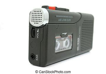 Mini Cassette Recorder Isolated on White