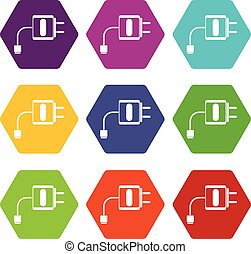 Mini charger icon set color hexahedron