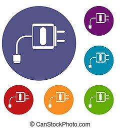 Mini charger icons set