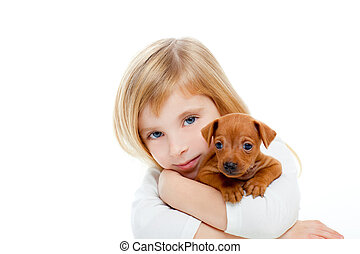 mini, chien, blonds, girl, chiot, pinscher, enfants