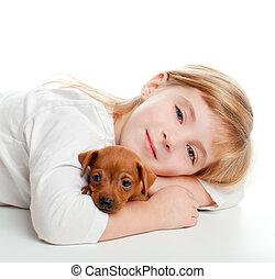 mini, chouchou, chien, blonds, girl, gosse, pinscher, mascotte