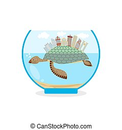 Mini city on shell of turtle. Micro ecosystem in an aquarium. Skyscrapers and public buildings on sea animal. Tiny residential quarter.