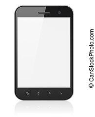 mini, computer, draagbaar, tablet, render., abstract, moderne, screen., beroeren, pc), achtergrond, blok, apparaat, black , witte , (tablet, 3d