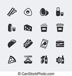 mini, conjunto, iconos, alimento, vector, #2