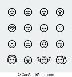 mini, conjunto, iconos, vector, sonrisa, #2