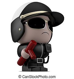 3D Cartoon character. Policeman with cosh. Isolated on white background with clipping path.