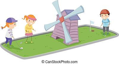 mini, crianças, stickman, ilustração, golfe, moinho, vento