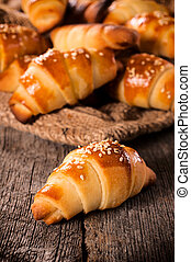 Mini croissant - Mini homemade croissants stuffed with ham...