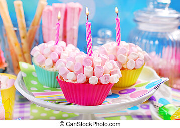 mini, cumpleaños, cupcakes, malvavisco, fiesta