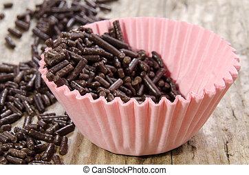 mini cupcake case with chocolate sprinkles - mini pink ...