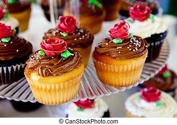 mini, cupcakes, during, en, bryllup