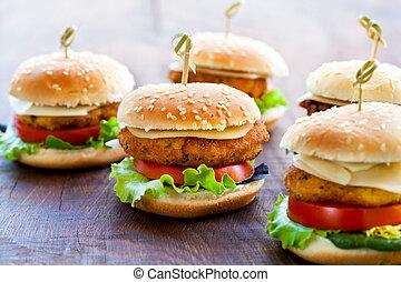 mini, de madera, hamburguesas, apetitoso, pollo, surface.