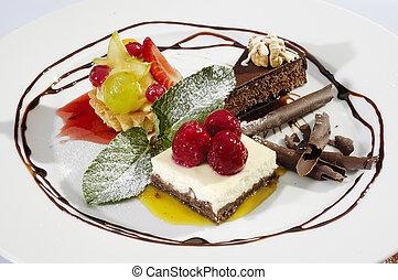 Mini desserts arranged w chocolate dip