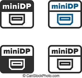 Mini Display Port sign, set