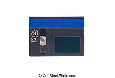 Mini DV cassette on white background.