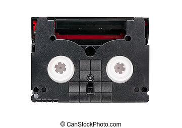 Mini DV video cassette on white background