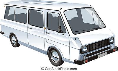 mini, elszigetelt, autóbusz