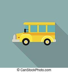 mini, escola, apartamento, autocarro, estilo, ícone, criança