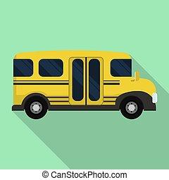 mini, escola, apartamento, autocarro, estilo, ícone, lado