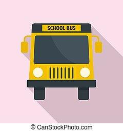 mini, escola, apartamento, autocarro, estilo, amarela, ícone