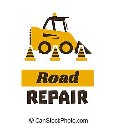 mini, estilo, illustration., asfalto, apartamento, processando, machinery., works., vetorial, tráfego, estrada, cone., logotipo, construção, repair., carregador