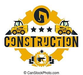 mini, estilo, tools., trabalhando, lettering, equipment., isolado, ilustração, tema, machinery., experiência., works., construção, apartamento, logotipo, loader., especiais