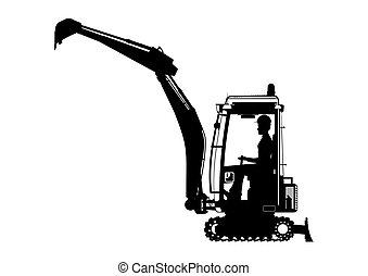 mini, excavator.