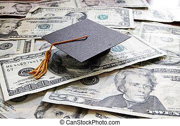 mini, faculdade, boné graduação, ligado, dinheiro