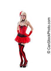 mini, femme,  corset,  sexy, jupe, rouges