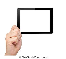mini, femme, tablette, écran, isolé, main, prise