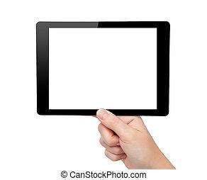 mini, femme, tablette, gadget, isolé, main, informatique, tampon, toucher, prise, écran
