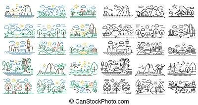mini, fogalom, áttekintés, természet elpirul, megfog, rivers., vektor, fekete, egyenes, ikon, parkosít, hegyek, illustrations.