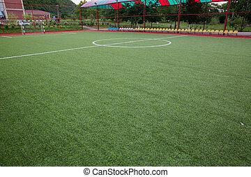 Mini Football Goal On An Artificial Grass . Inside of indoor football field