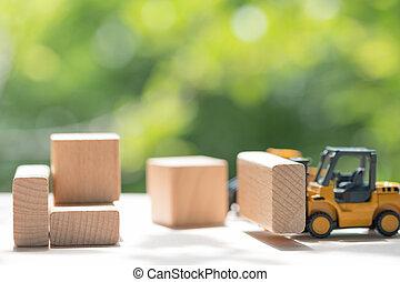 Mini forklift truck load wooden block