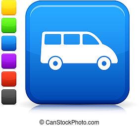 mini fourgon, icône, sur, carrée, internet, bouton